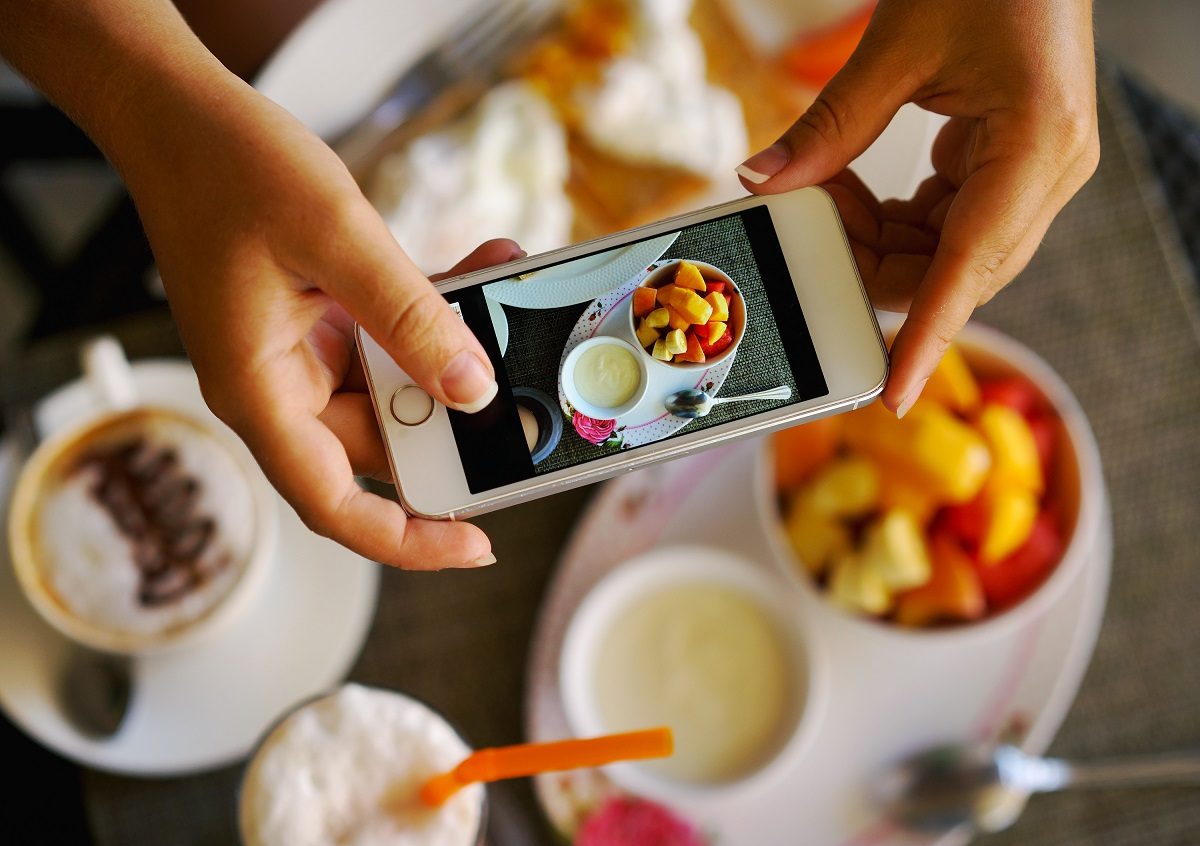 taking photo of a food